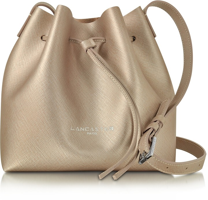 Lancaster Paris Pur & Element Champagne Saffiano Leather Mini Bucket Bag