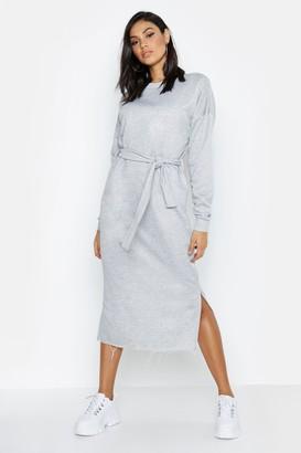boohoo Tall Belted Midi Sweat Dress