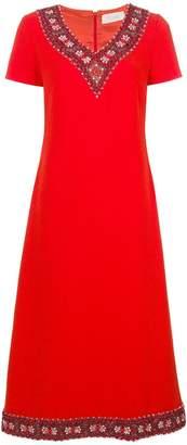 Goat Glam embellished neckline dress