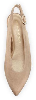 Stuart Weitzman Heidi Suede Slingback Ballerina Flat $385 thestylecure.com
