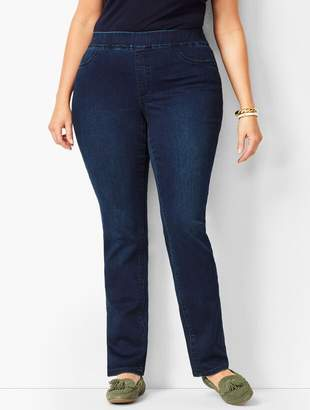 Talbots Plus Size Pull-On Straight Leg Jeans - Marco Wash