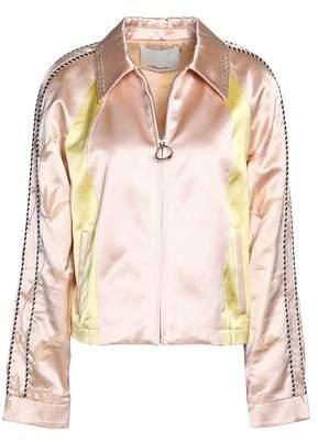 Embellished Embroidered Color-Block Cotton-Blend Satin Jacket