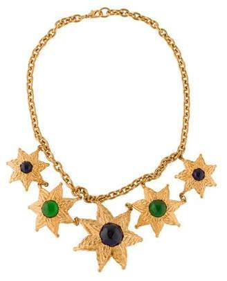 Glass Flower Collar Necklace