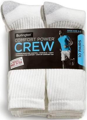 Burlington Comfort Power Mens 10 Pair Crew Socks