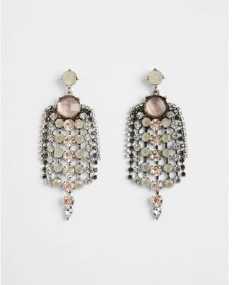 Express center round stone fringe drop earrings