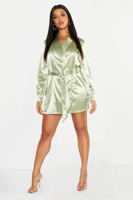 boohoo Satin Button Detail Wrap Mini Dress