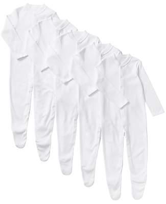 Long Sleeve Organic GOTS Cotton Sleepsuit, Pack of 5, White