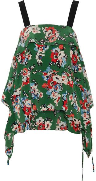 MSGM - Draped Floral-print Silk Crepe De Chine Camisole - Green