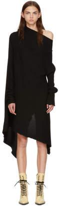 Marques Almeida Black Draped Wool Dress