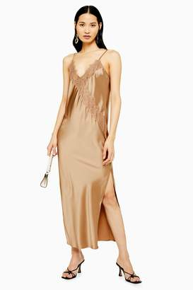 Topshop Womens Tall Bronze Lace Satin Slip Dress - Bronze