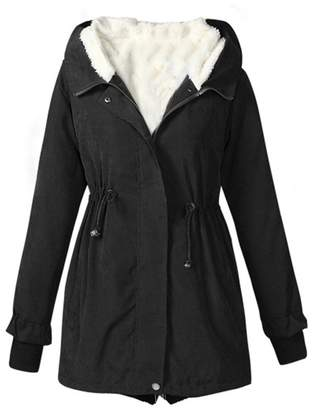 Allonly Women's Cotton Hooded Faux Fur Lining Drawstring Waist Jacket Trench Coat