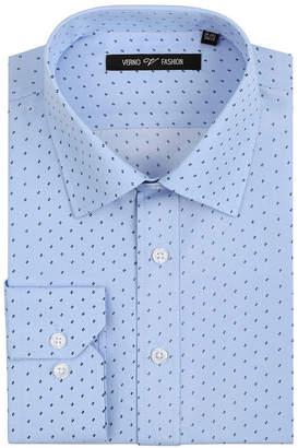 VERNO Verno Mens 100% Micro Fiber Printed Slim Fit Long Sleeve Dress Shirt - Big & Tall