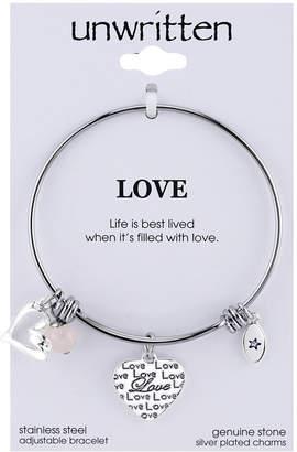 Unwritten Love Charm and Rose Quartz (8mm) Bangle Bracelet in Stainless Steel