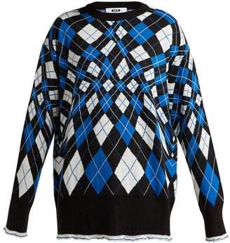 MSGM Argyle wool-blend sweater