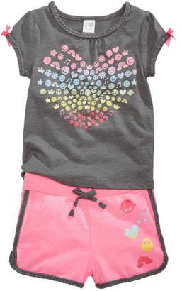 Awake 2-Pc. Emoji-Print T-Shirt & Shorts Set, Toddler Girls