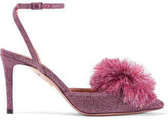Aquazzura Powder Puff Pompom-embellished Lurex Slingback Pumps - Purple