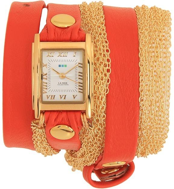 La Mer Double Chain Rio Gold (Orange/Gold) - Jewelry