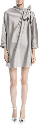 Marc Jacobs Dolman-Sleeve Satin Mini Cocktail Dress with Bow Detail