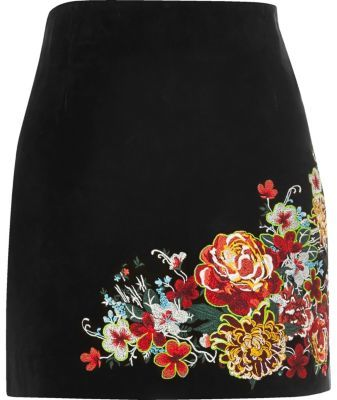 River IslandRiver Island Womens Black suede embroidered mini skirt
