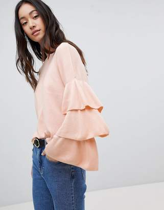 Only Ruffle Layered Sleeve Lightweight Sweater
