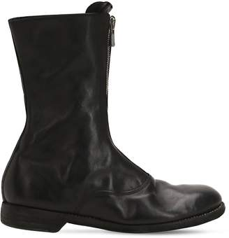 Zip-Up Washed Leather Boots
