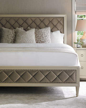Caracole Millet Diamond-Tufted Queen Bed