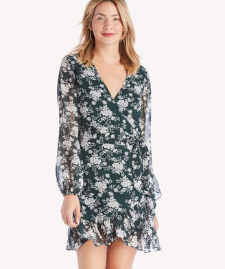 1 STATE Women's Long Sleeve Wrap Front Forest Delicate Dress Cypress Pine Size 0 From Sole Society
