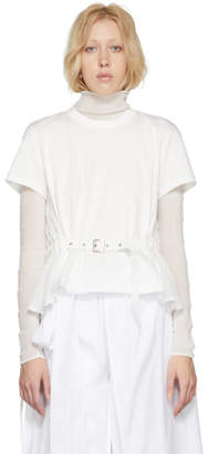 Noir Kei Ninomiya White Panelled Belt T-Shirt