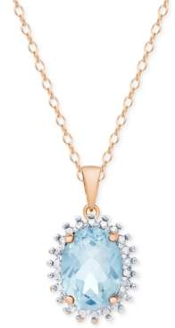 """Macy's Blue Topaz 18"""" Pendant Necklace (1-5/8 ct. t.w.) in Sterling Silver & 18k Rose Gold-Plate"""