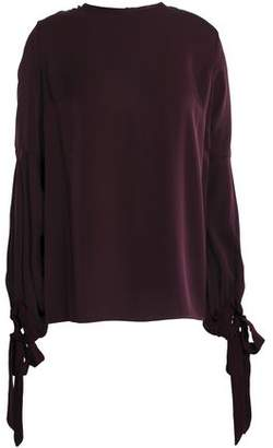 Milly Juliette Bow-detailed Stretch-silk Top