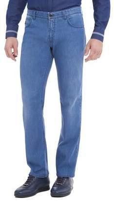 Stefano Ricci Straight-Leg Denim Jeans, Light Wash Blue
