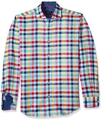 Bugatchi Men's Fitted Long Sleeve Madras Check Sports Shirt