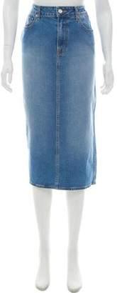 Oscar de la Renta Denim Midi Skirt