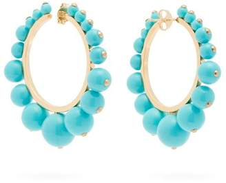 Aurelie Bidermann Ana Bead Embellished Hoop Earrings - Womens - Blue