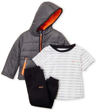 DKNY Toddler Boys) 3-Piece Hooded Coat, Striped Tee & Jogger Set