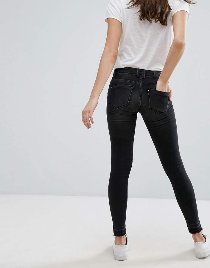 Only Coral Low Rise Ripped Knee Skinny Jeans