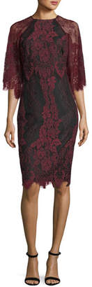 Badgley Mischka High-Neck Lace Flutter-Sleeve Sheath Dress