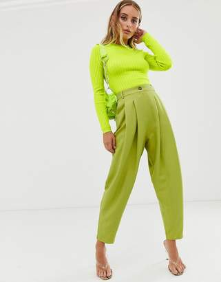 6a7db7f7b5f47 Asos Design DESIGN high waisted 80s exaggerated tapered suit pants in  citrus pop
