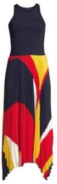 Polo Ralph Lauren Alyah Pleated Sleeveless Handkerchief Midi Dress