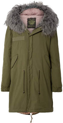 Mr & Mrs Italy Hooded Shearling-lined Cotton-canvas Parka - Army green