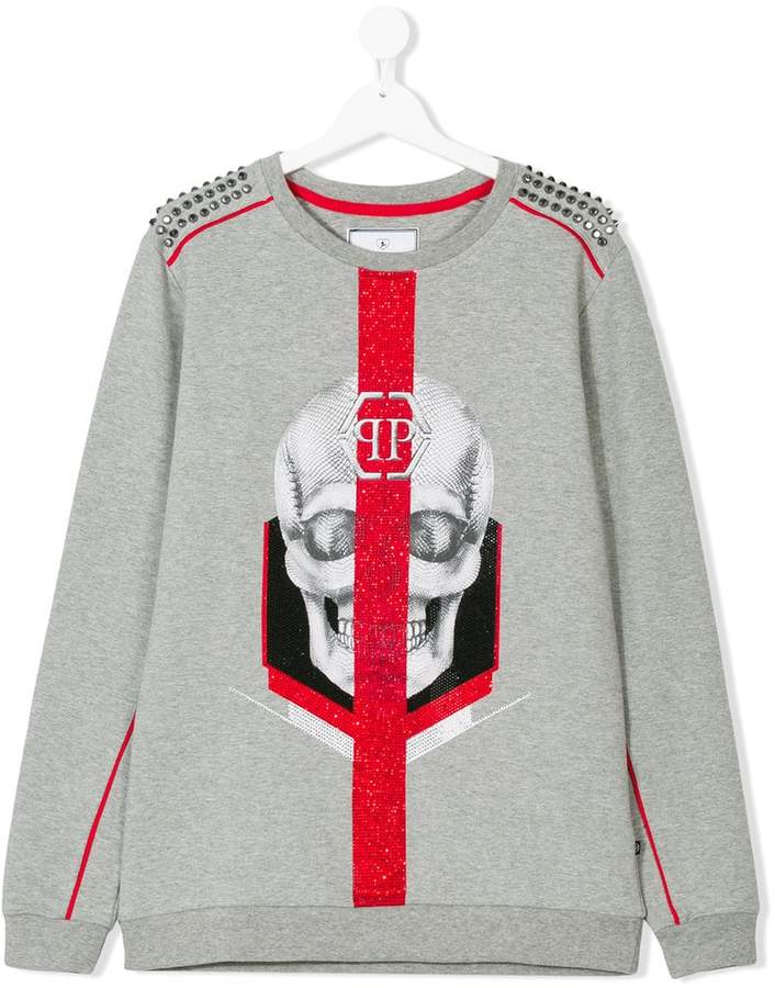 Philipp Plein Junior Sweatshirt mit Totenkopf-Print