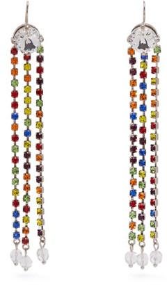 Miu Miu Crystal Embellished Tassel Drop Earrings - Womens - Multi