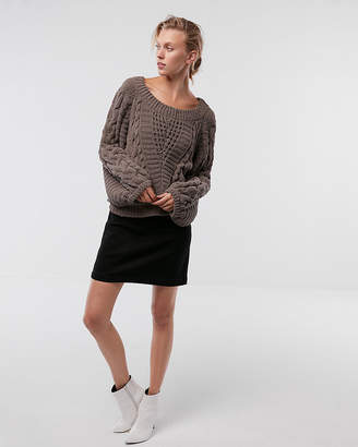 Express Cable Knit Chenille Boat Neck Balloon Sleeve Sweater