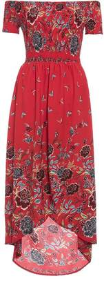 Quiz Red Floral Print Wrap Maxi Dress