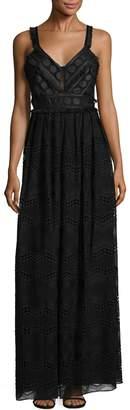 Badgley Mischka Women's Tonal Dot Print Gown