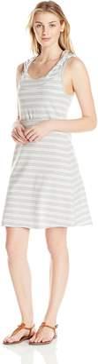 Andrew Marc Performance Women's Hooded Thick Thin Stripe Dress with Shelf Bra