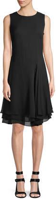 Donna Karan Curved-Seam Ruffle-Trimmed Midi Dress