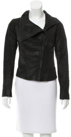 Helmut LangHelmut Lang Leather Rib Knit Jacket