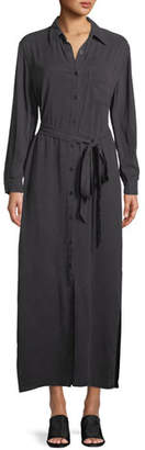 Rachel Pally Button-Front Garment-Dye Twill Long Shirtdress w/ Belt, Plus Size