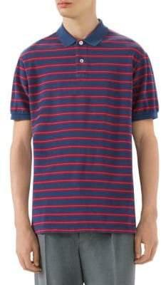 Gucci Stonewashed Stripe Cotton Polo Shirt